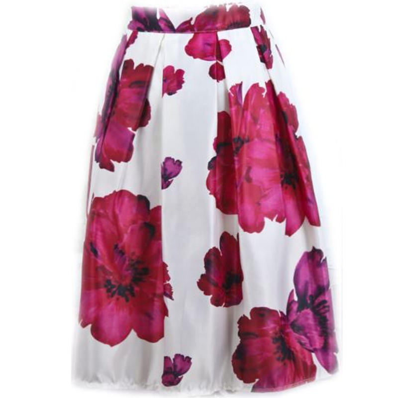 2d6a9cf87d95b Women Skirts Autumn Summer Female Floral Print Vintage Ball Gown Midi Skirt  Saias Big Flower Girls Satin Pleated Skirt Faldas