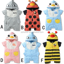 2017 hot sale eupropean baby rompers, animal design baby clothes, jumpsuit, wholesale children's boutique clothing onesie