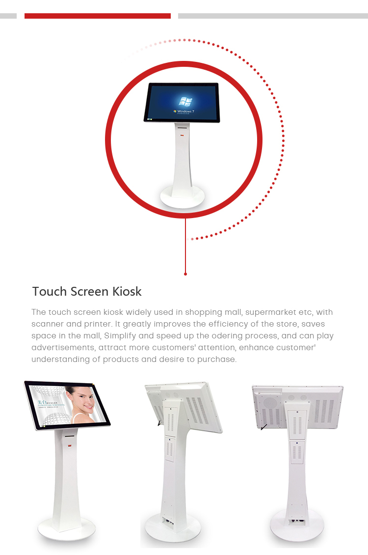 32 inch windows digital touch screen kiosk with printer and scanner