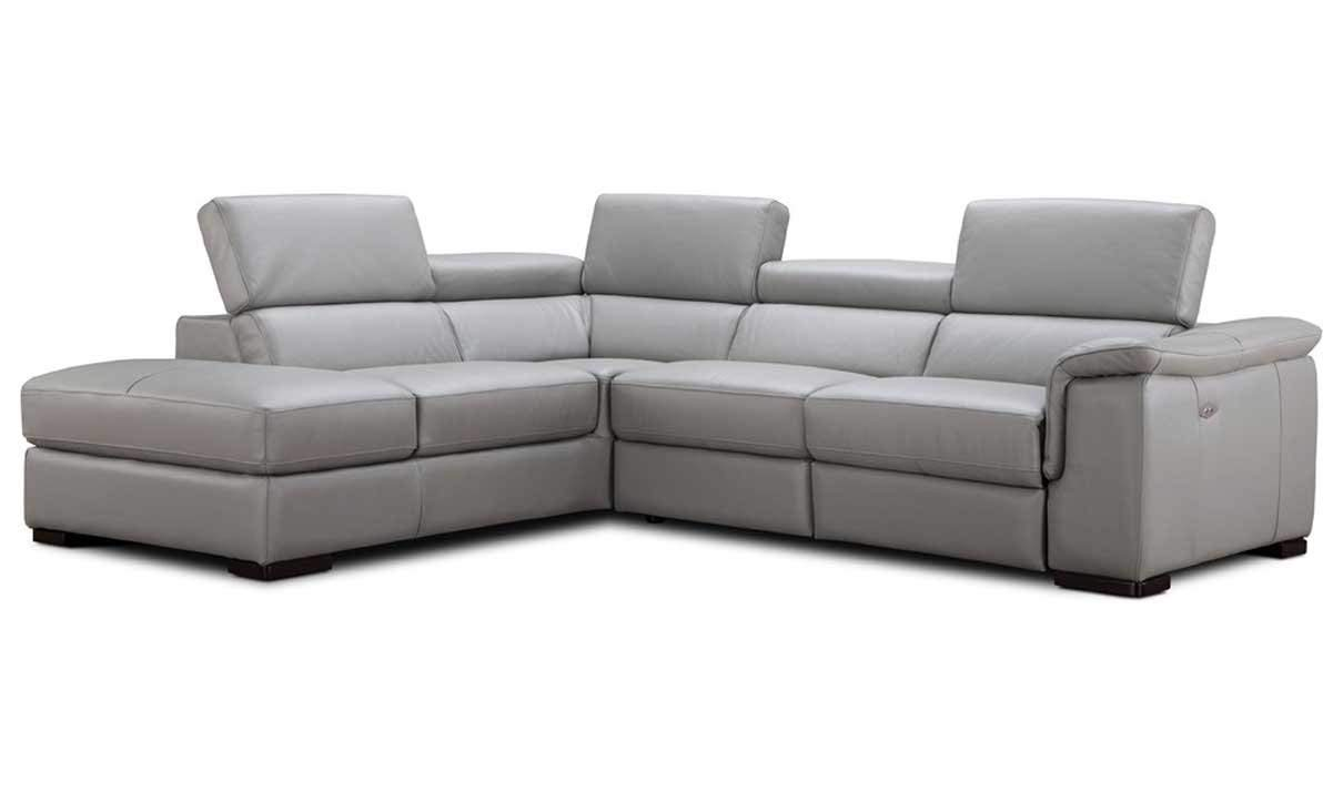 J&M Furniture Perla Leather Left Facing Sectional Sofa in Grey