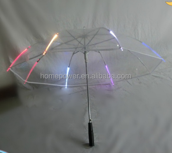 promotional advertising handle LED light umbrella transparent umbrella cheap
