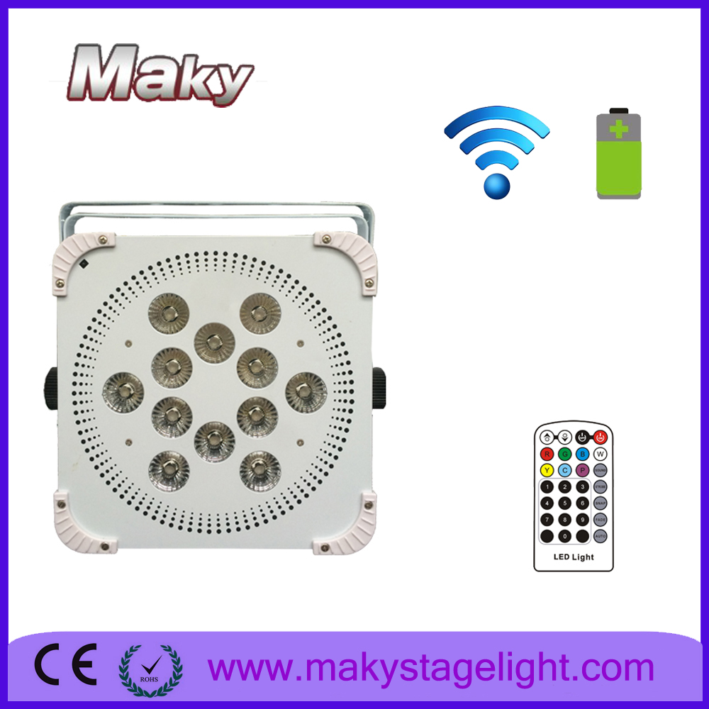 Maky led uplighting smart Dj led par light12*18W RGBWA+UV recharging battery battery powered wiireless DMX flat led par light