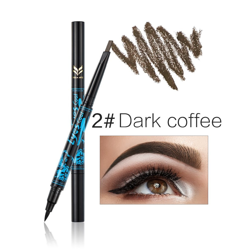 JaneDream 2 In 1 Eyebrow Pencil Black Eyeliner Double End Eyebrow Pen Natural Color Easy to Wear 2# Dark Coffee