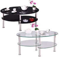 Oval colorful tempered glass coffee table living room table