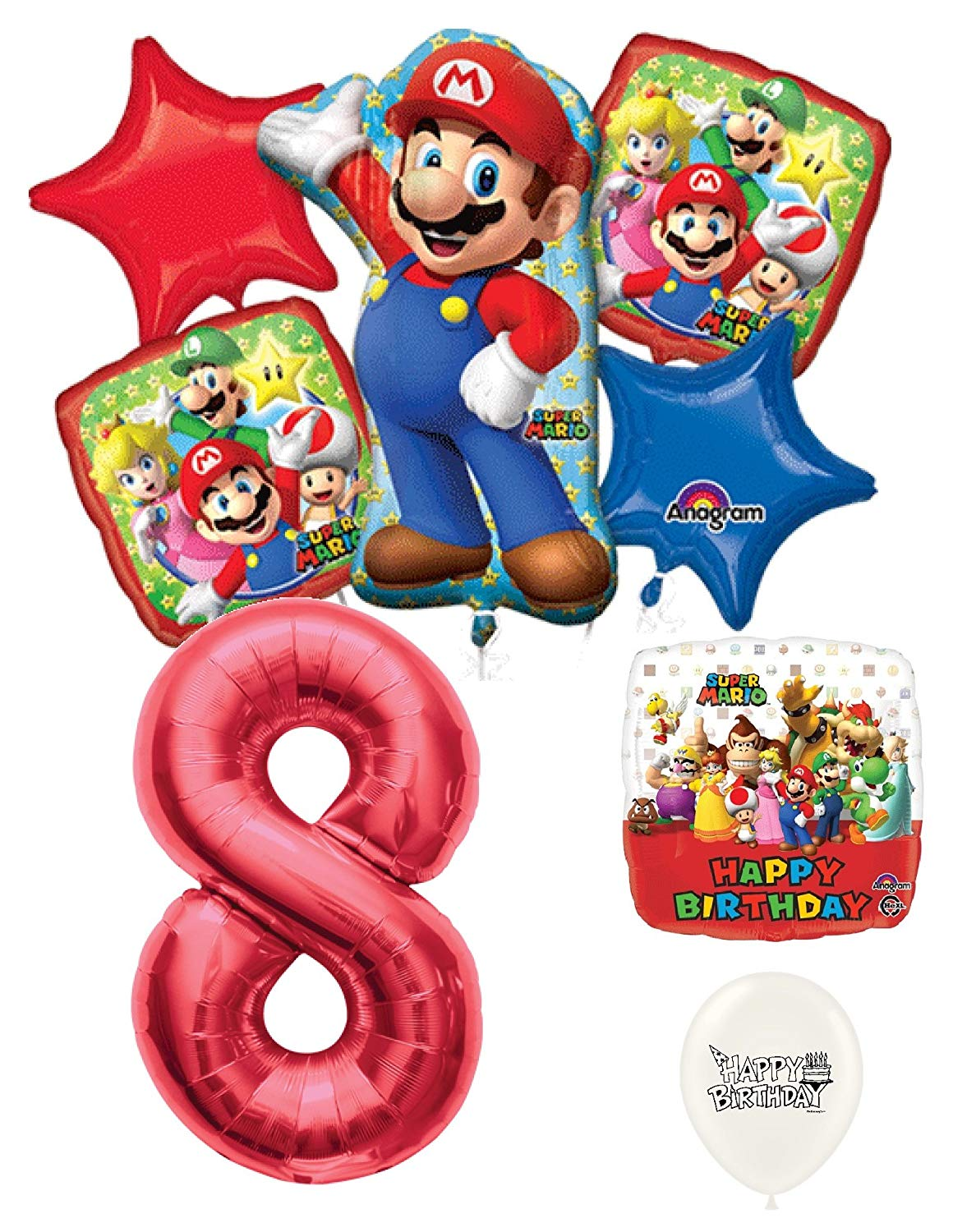 Get Quotations 8th Birthday Red Number Mario Brothers Party Decorations Balloon Bouquet Bundle
