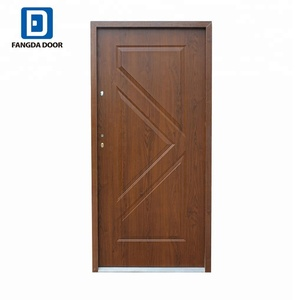 Fangda cheap poland security front door with wooden look door skin
