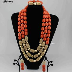 Wholesale nigerian burgundy wedding necklace and earring sets jewelry bridal silver gemstone jewellery coral beads set designs