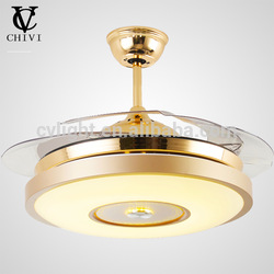2018 Factory Hot ceiling electrical fan with lamp hidden blades lights