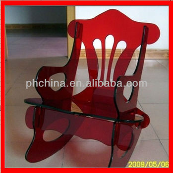 Jac 260 Customised Red Acrylic Chair Lucite Plexigl Rocking Color Perspex