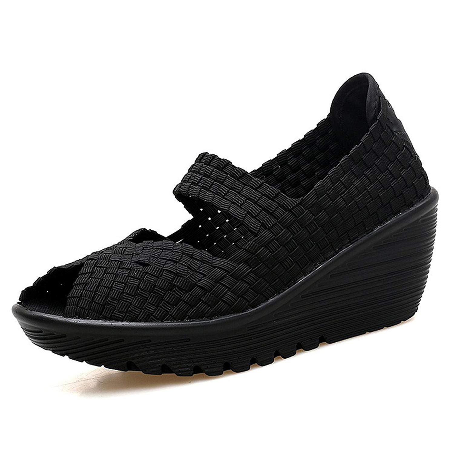 Breathable a Pedal Shoes Women's Thick-Soled Non-Slip Rocking Shoes(Black 39/8.5 B(M) US Women)