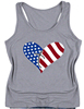 Womens Casual Sleeveless Tank Tops American Flag Print loving pattern Shirts