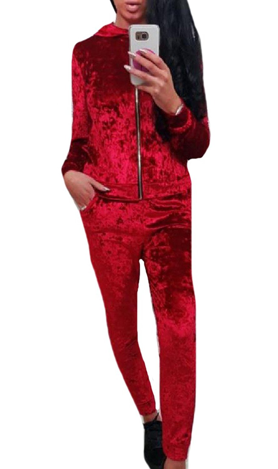 Zimaes-Women Hooded Tracksuit Top Sweatpants Velour Velvet 2-Piece
