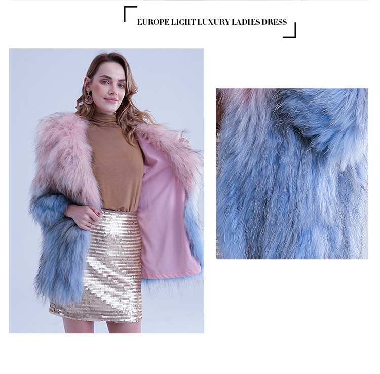 China factory wholesale warm and fuzzy pink and blue raccoon fur knitted jacket