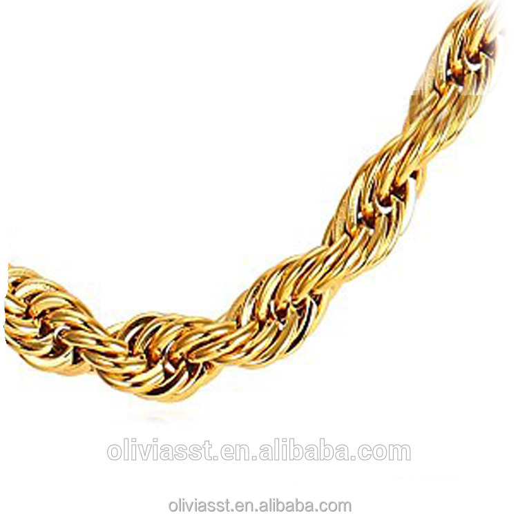 "Olivia Heavy 15mm Gold Chain Designs Mens Hollow Thick Rope Chain 36"" Hiphop Necklace"