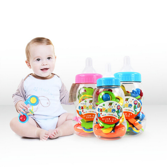 Set Big Bottle Plastic Baby Rattles Toys Hand Shake Bell Ring Lovely Rattles Toys Baby Educational Auditory sense Toys