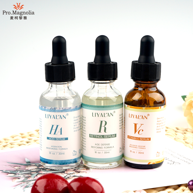 Private label anti aging anti falten vitamin c/retinol/hyaluronsäure gesicht serum set