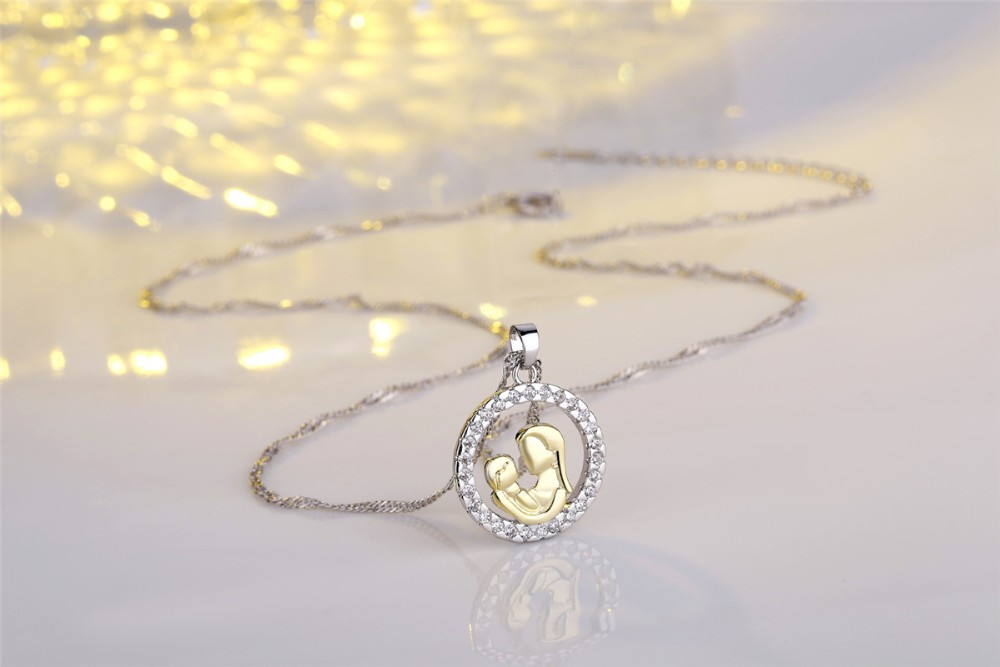 Mother 's Day Send Mother Zircon Round pendant ncklace Mother and Child Theme Jewelry