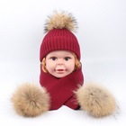 Kids Customized Design Wool Collar Raccoon Fur Pom Cashmere Knitted Hat and Scarf