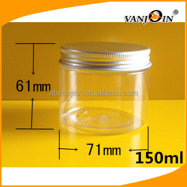 50ml 100ml 150ml 200ml Wholesale Clear Plastic Round Candy Container for Cosmetic with Aluminum Lid Caps