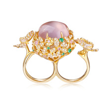 Waterproof Golden Butterfly Smart Jewelry Ring with Rose Quartz Gemstone Embed Activity Tracker