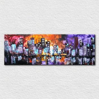 Mur De Toile Art Color Ville Peinture  LHuile Pour Le Salon  Buy