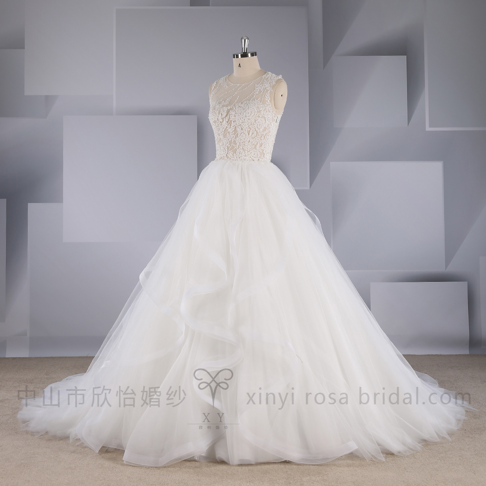 Designer A Line Lace Beaded Ruffled Skirt Wedding Dress Bridal Gowns