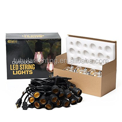 2017 Decorative Outdoor IP66 String Lights, 48feet/54feet 120 volts E26 S14 led string lights Christmas Decorations Outdoor