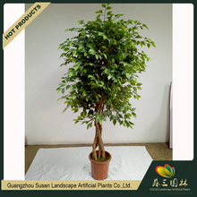 OEM Good looking green indoor 2 meters multi-trunk branches mini ficus plants stands artificial banyan bonsai tree