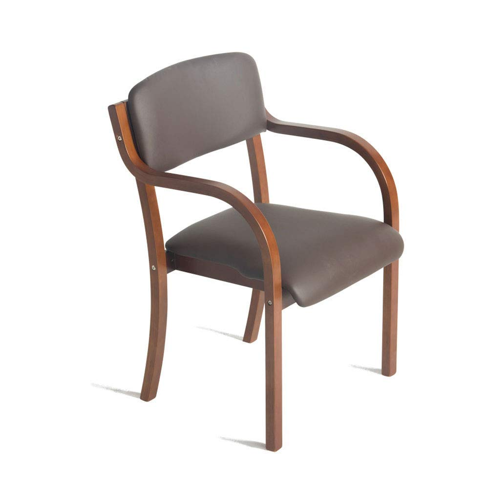 YAN JUNau Wooden Armchair with armrests for Home and Business Brown's Tabletop Dining/Makeup/Learning Chair Kitchen/Dining Chair Size: 53cm x 58cm x 83cm ++