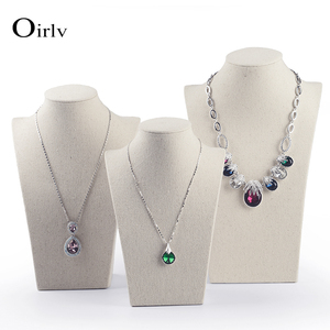 Oirlv Wholesale Popular Pendant Chain Charm Necklace Display Stand Bust for Trade Show Custom Tall Linen Jewelry Mannequins