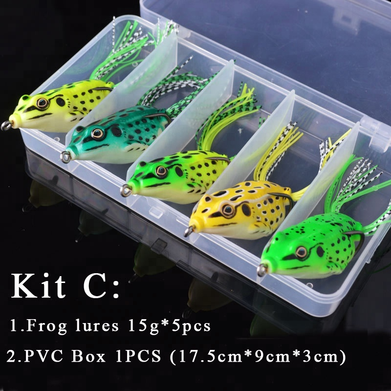 Hot Sell 6g 15g Fishing Lure Frog Set Topwater Soft Frog Bait with Box, Black brown red green yellow colors mix