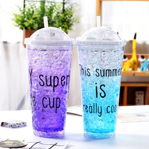 Zogift Summer hot selling beach Freezing Gel ice cream cup ,16oz wholesale reusable custom logo plastic cup with lid and straw