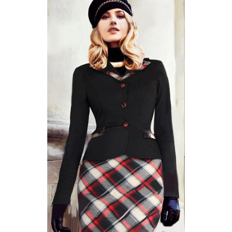 7645883d6c75 Get Quotations · 2015 New Fashion Womens Autumn Colorblock Tartan Lapel  Peplum Buttons Long Sleeve Work Wear Business OL