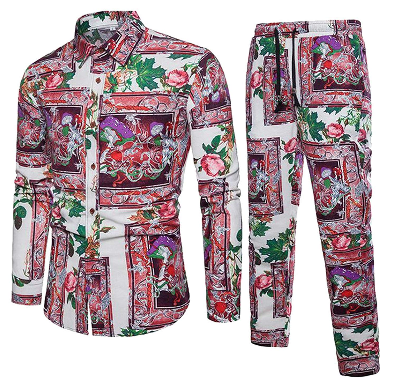 Jofemuho Mens Ethnic Printed Button Down Shirt & Harem Pants Loose Linen 2 Pcs Outfits