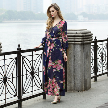 f9a9e86c168 Long Sleeve Chiffon Floral Printed Maxi Dress Ladies Summer Casual Dresses