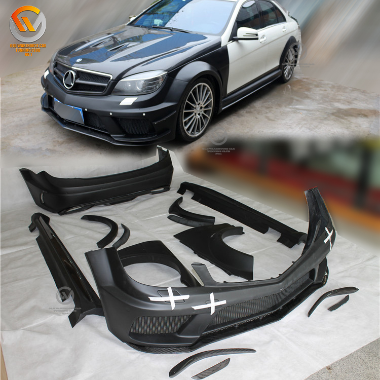 Fit 2012-2014 C Klasse W204 4DR Sedan Coupe Black-serie C63 AMG-stijl Auto-onderdelen Wide Body Kit
