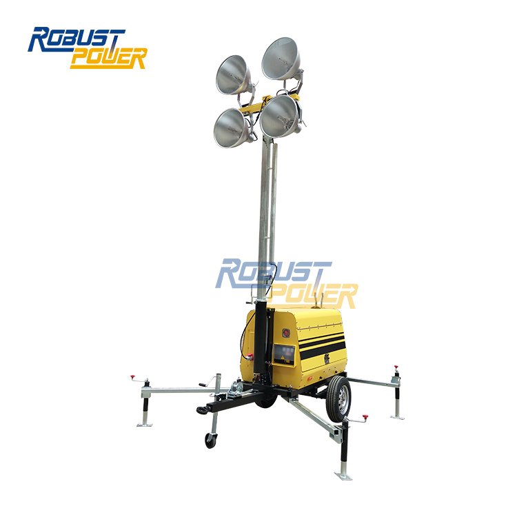 12.8kVA/Kw Winch Manual Tower Light With Generator Lamp Kubota Diesel Engine Mobile Lighting Plant