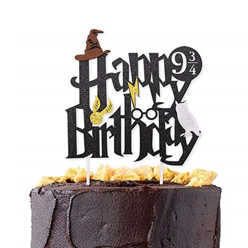 Brillo Negro De Harry Potter Feliz Cumpleaños Pastel Topper