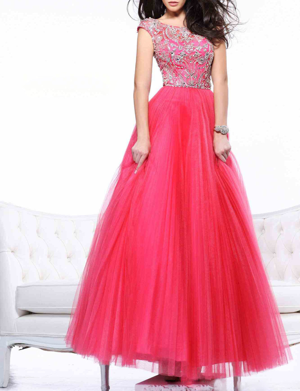 Long Prom Dresses 2015 Crystal V Backless Boa-Neck Plus Size Prom Dress Custom Made Long Evening Dress Vestido De Festa T010