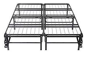 King Size Black Metal Bi-Fold Folding Platform Bed Frame Base Mattress Foundation