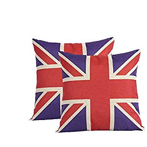 VClife 2 Pack Square Cotton Linen Sofa Cushion Covers Decorative Pillow Cases 18 X 18 Inch British Vintage Style Union Jack Flag Zippered Throw Pillow Cover