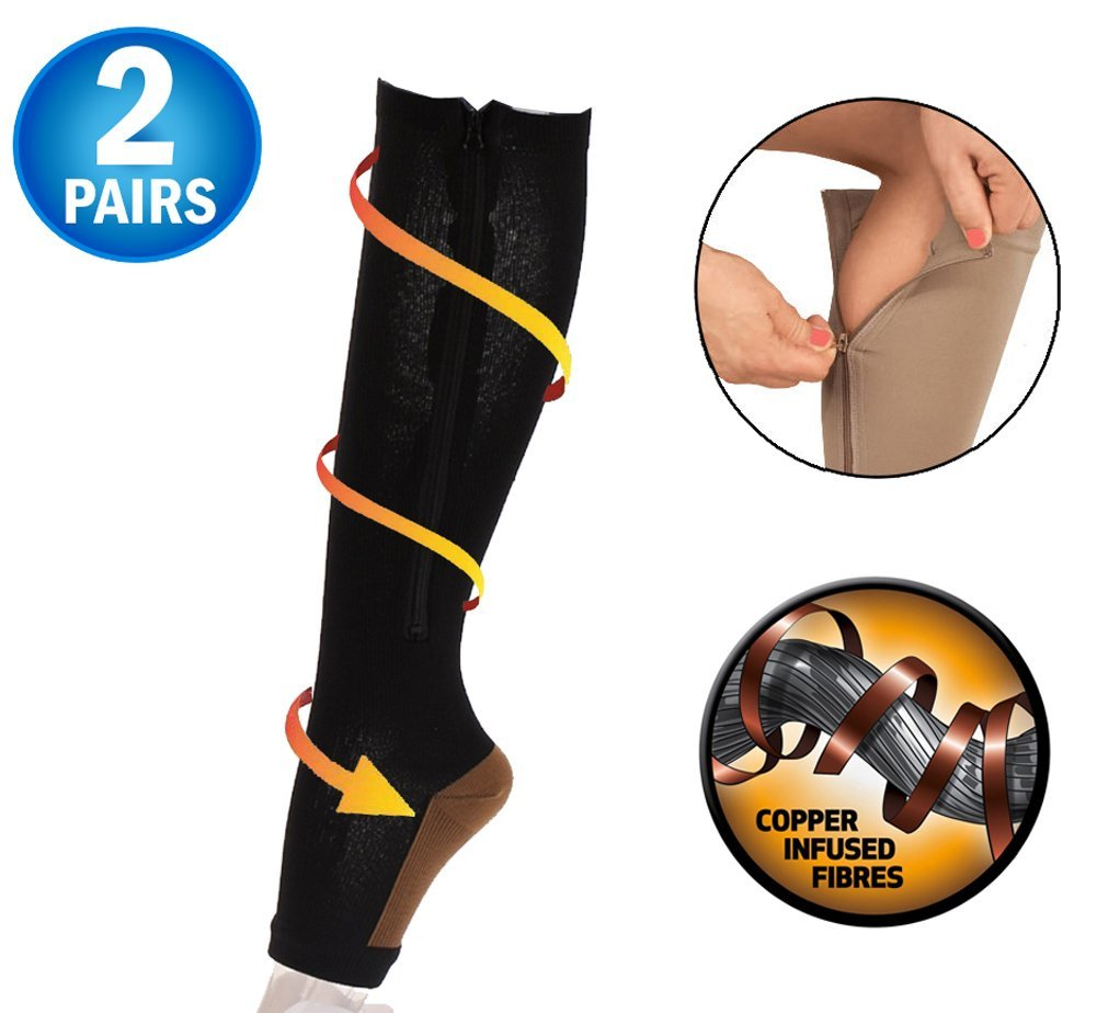 1f24134692 Get Quotations · Copper Infused Zipper Compression Socks - Open Toe Zip Up  Circulation Pressure Hose Stockings - Zippered