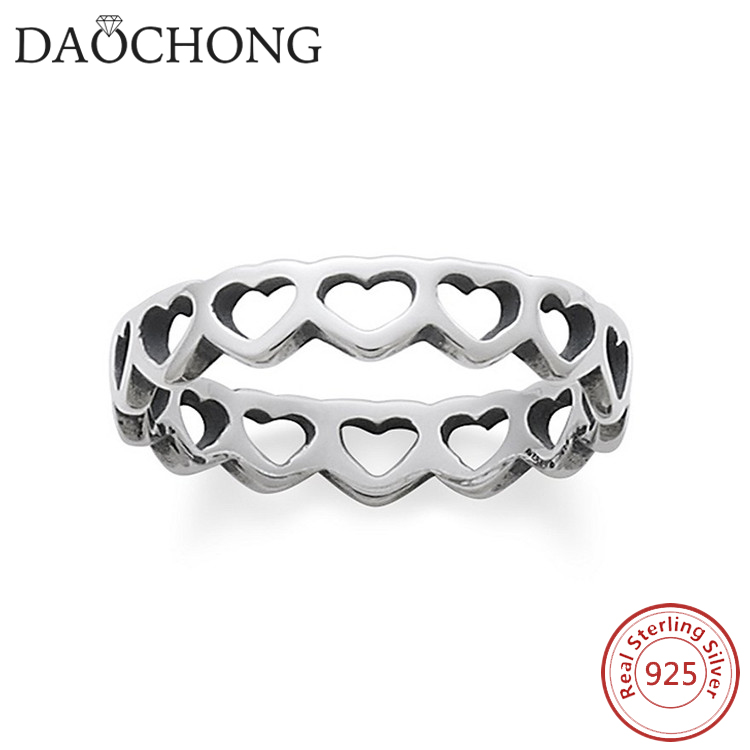 Elegant Simple Silver Ring 925 Sterling Tiny Hearts Band Ring