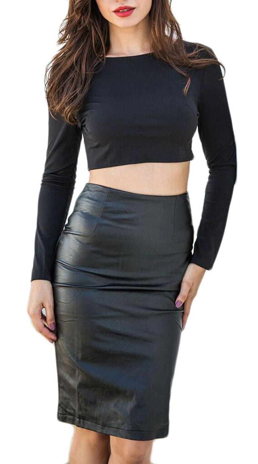 M&S&W Women Sexy Long Sleeve Backless Crop Top & PU Skirts Outfits Party Dresses