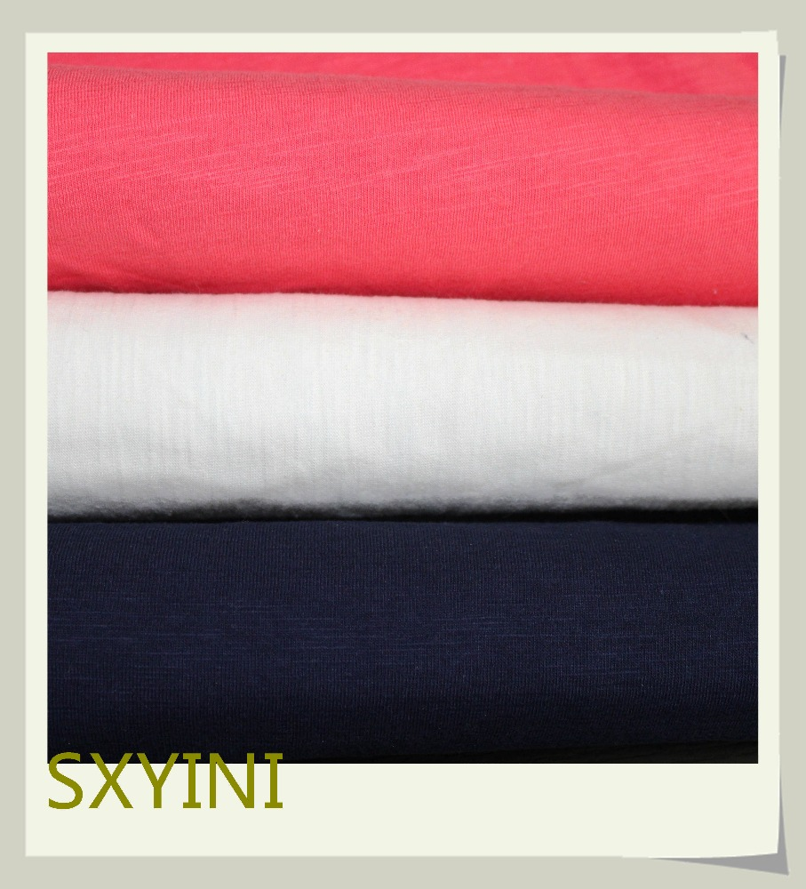 shaoxing YINI hot 100% cotton slub Single jersey for T-shirt clothes fabric