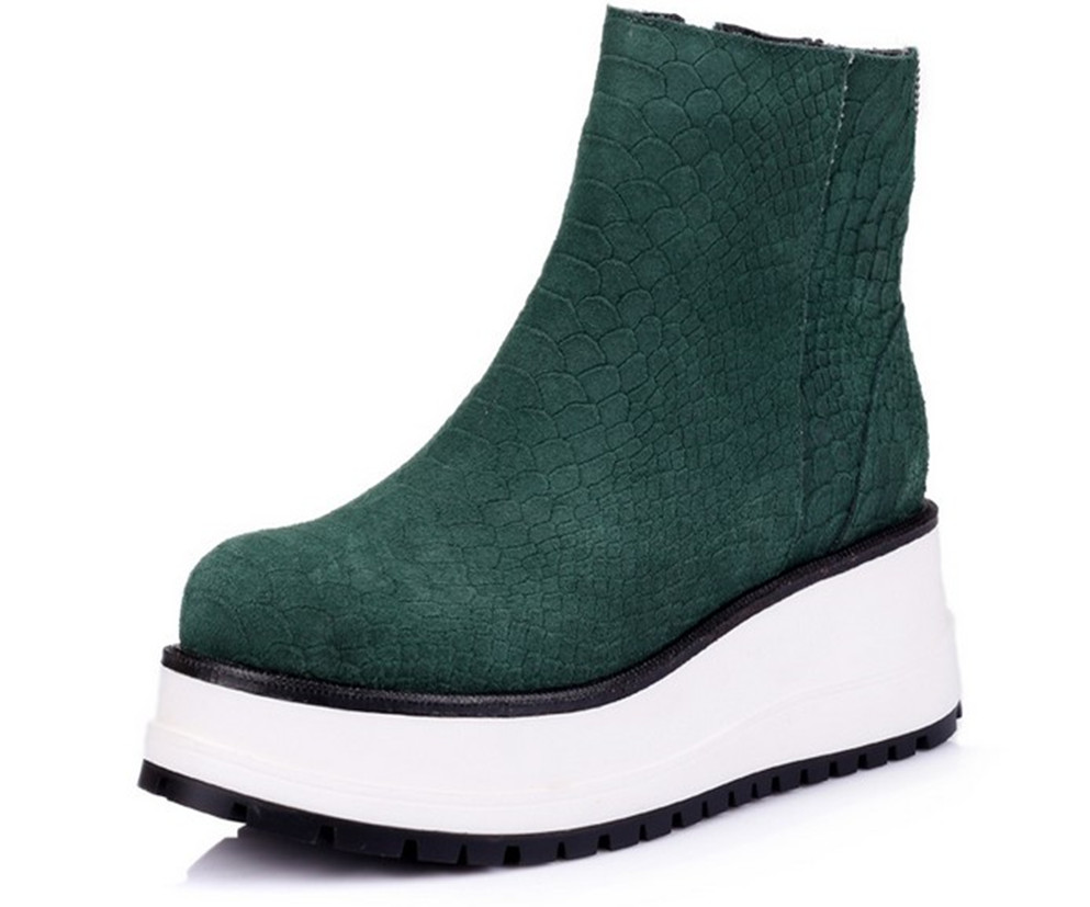 faca77ffacca Get Quotations · 2015 Women Genuine Leather Martin Boots Round Toe Zipper  Platform Wedges Breathable Sneakers Non-slip