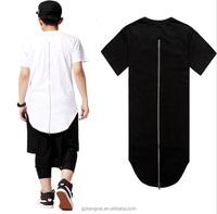 Top Fashion Longline T Shirt Scooped Bottom Zipper Back Custom Design OEM