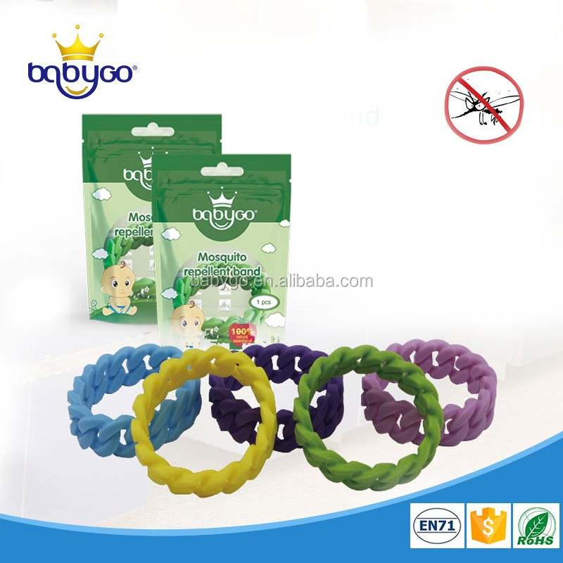Waterproof colorful twist mosquito repellent bracelet with 15 days effective