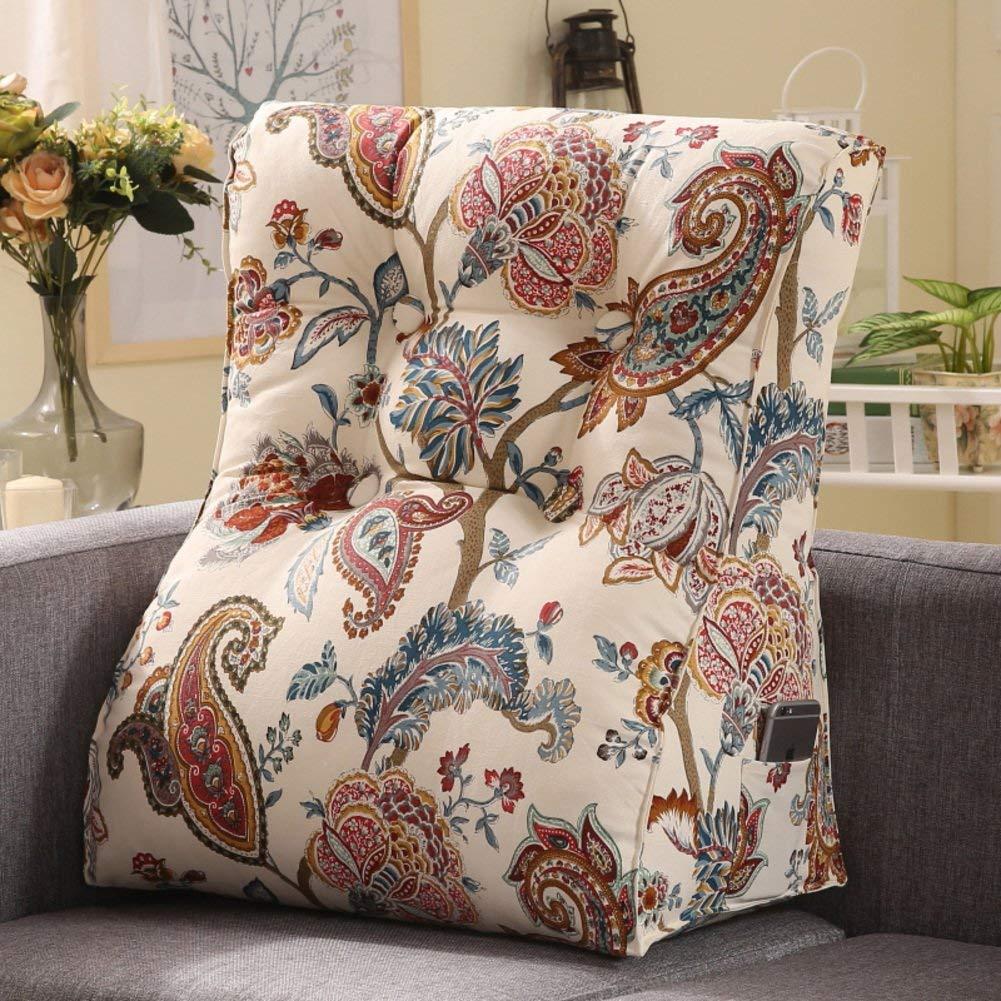WYMNAME Sofa Triangular Wedge,Height Thicken Stereo Back Cushion Neck Back Cushion Detachable Bedside Cushion-A 60x55x30cm(24x22x12inch)