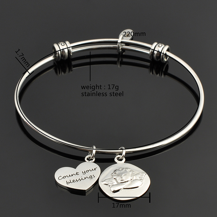 New Desiagn Stainless Steel Wire Bangle Unicorn Horse Charm Bracelet